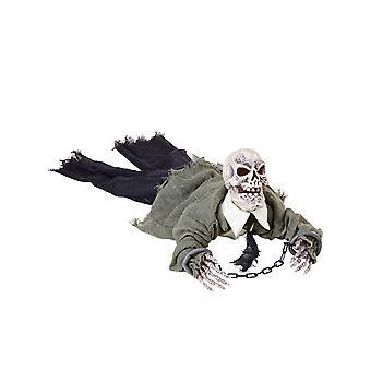 Heldere geanimeerde skeletdecoratie en het geluid van Halloween