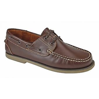 DEK River Mens Leather Moccasin Boat Shoes Brown