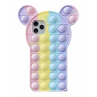 N1986N iPhone 12 Pro Max Pop It Case - Silicone Bubble Toy Case Anti Stress Cover Rainbow