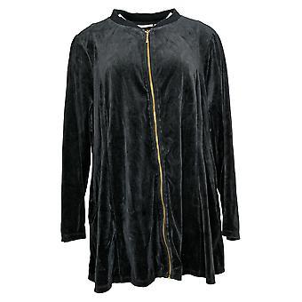 Denim & Co. Women's Plus Velour Jacket Bomber Collar Black A372298