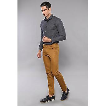 Puuvilla tan väri 5 tasku slim fit housut | Kävi koulua wessi
