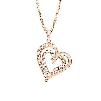 Amor Naisten kaulakoru sydämen muodossa, hopea 925 zirkonilla, yksikokoinen, väri: vaaleanpunainen