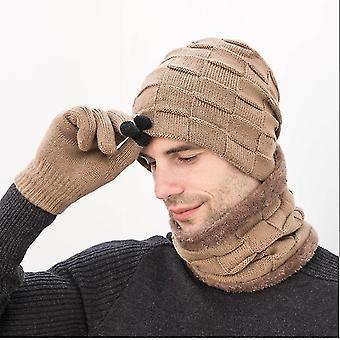 Yksikokoinen khaki gemdeck 3 kpl neulottua hattukarppia ja käsinesarjaa x6710