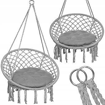 Hangstoel ooievaarsnest 60 x 60 cm + kussen – Grijs met kwasten