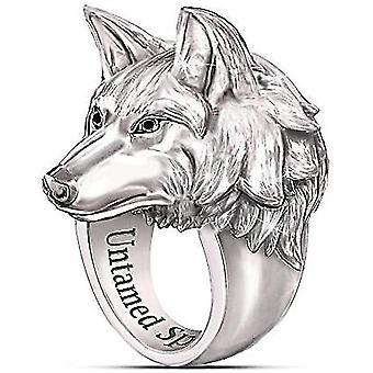 Herren Ring Nordisch Wikinger Nordischer Wolf Kopf Ringe Für Männer Wolf Ring Ständer(12)