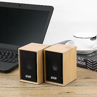 1 paar houten Usb Charge 3,5 mm stereo bas desktop luidspreker luidspreker luidspreker