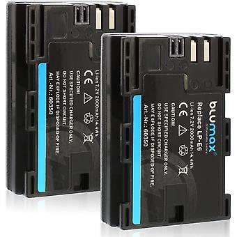2X LP-E6 Akku kompatibel mit Canon EOS 60D 70D 6D 60D 70D 5D Mark 3 2000mAh 7,2V 14,4Wh mehr