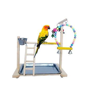 Wooden Bird Perch Stand Parrot Platform Playstand Juguetes interactivos con tazas de alimentación  Perchas de aves