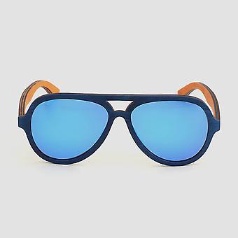 Eco friendly unisex wooden sunglasses aviator blue