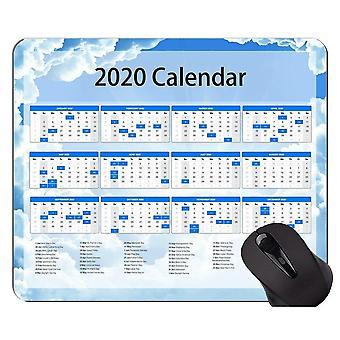(7) Calendario 2020 con almohadilla de ratón original personalizada de vacaciones, almohadilla de ratón temática verde sólido con cosido