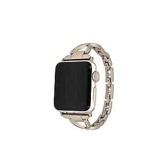 Stylish Metal X-shaped Shiny Watch with Steel Strap for Apple IWatch 5 4 3 2 1-Gold 38mm