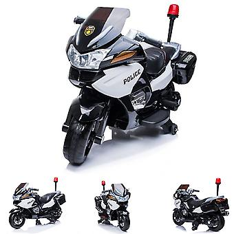 ES-Toys Elektro Kindermotorrad, Dreirad Polizei Design 118 Alarmlampe mit Sirene