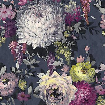 Azzura Floral Navy Wallpaper