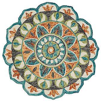 4' pyöreä sininen ja oranssi medaljonkialue matto
