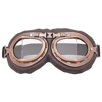 دراجة نارية ركوب نظارات الرجعية كلاسيك نظارات الزجاج الأمامي (شفاف)