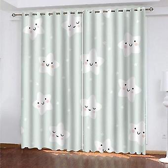 3D漫画屋内カーテンとカーテン小さなスターパターンブラックアウトカーテン140x240cm