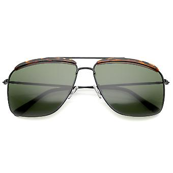 Retro Brow Accent dunne metalen Frame Square Aviator zonnebril 61mm