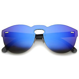 Lentille plate Mono futuriste à lunettes sans corne bordés Shield lunettes de soleil 73mm