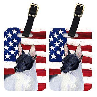 Par USA amerikanske flagget med Rat Terrier bagasjelapper