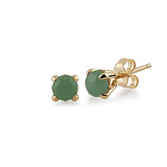 Classic Round Green Jade Claw Set Stud Earrings in 9ct Yellow Gold 135E1412019