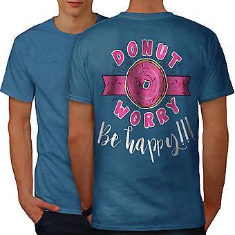 Donut Worry Pun Funny Men Royal BlueT-shirt Back | Wellcoda