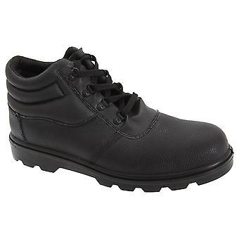 Couro de grão de Mens grafters Treaded segurança botas de tampão do dedo do pé