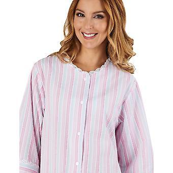 Slenderella HC1224 vrouwen Stripe Seersucker roze badjas Lounge Robe 3/4 lengte mouw badjas