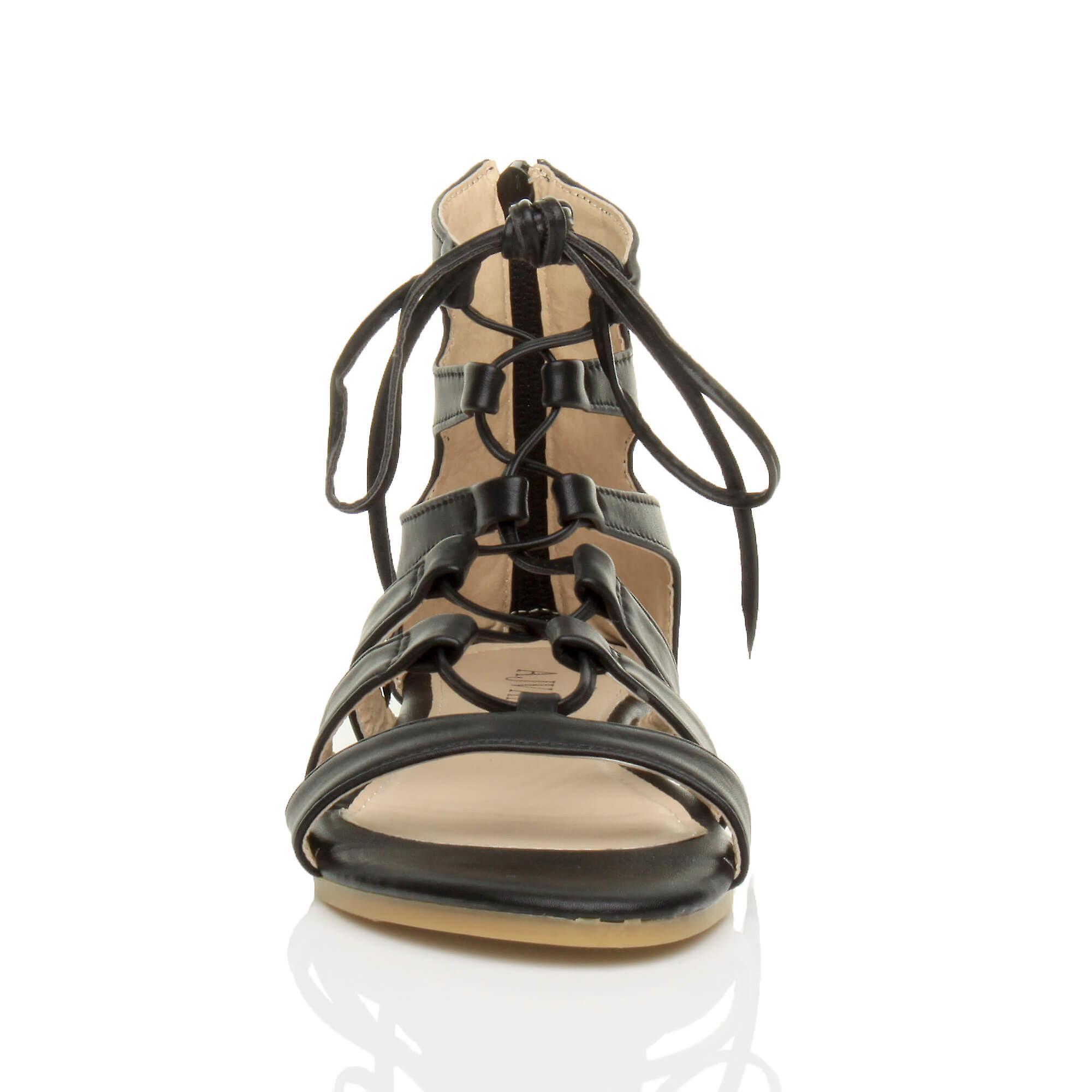 Ajvani kvinners flat lisse opp krysser vikle rundt strappy sandaler sko