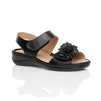 Ajvani kvinners lav kile hæl krok & sløyfe stroppen slingback blomst komfort Lær innersåle sandaler sko