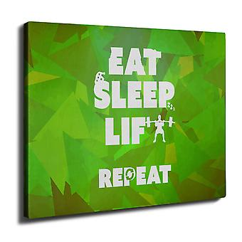 Eat Sleep Lift Gym Sport Wall Art Canvas 40cm x 30cm | Wellcoda