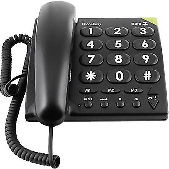 Doro PhoneEasy 311c CORDED buton mare apel vizual notificare, hands-free nr display negru