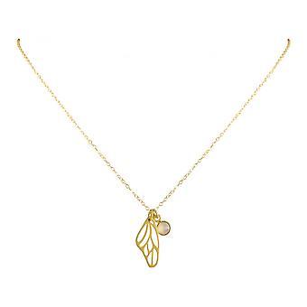 Damen - Halskette - Anhänger - Schmetterling - Flügel - WINGS - 925 Silber - Vergoldet –- Rose Quarz - 80 cm