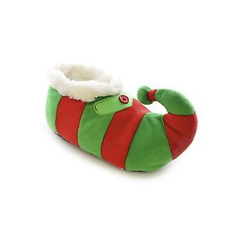 Childrens/Kids Striped Elf Design Novelty Christmas Slippers