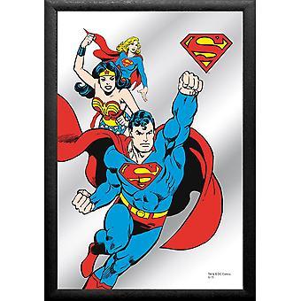 Superman Spiegel Comic  bunt, bedruckt, mit schwarzem Rahmen in Holzoptik.