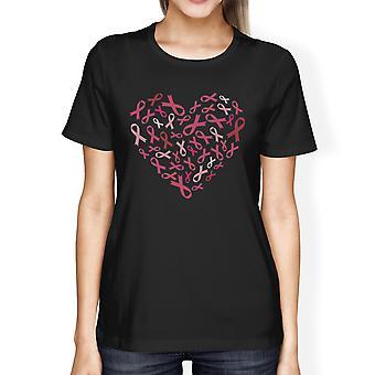 Rosa bandet hjärta Cancer Awareness skjortor för kvinnor svart bomull