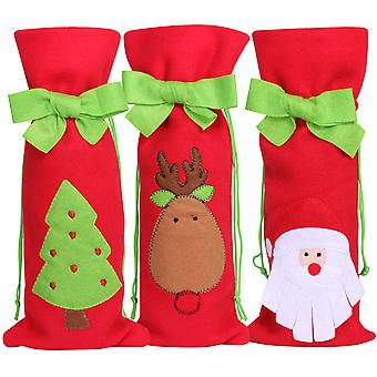 TRIXES 3PC Pack Christmas Wine Bags Festive Gift Bag Santa Christmas Tree Reindeer Green Bow Felt Stocking