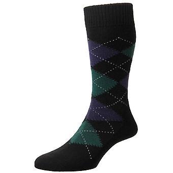 Pantherella Racton Argyle Merino wollen sokken - nieuwe zwart