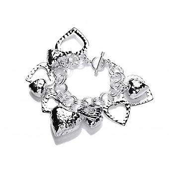 Cavendish francese Sterling Silver Multi Cuore Charms Bracciale