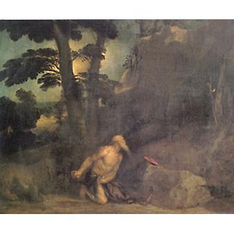 Jerome, Tizian, 60x50 cm