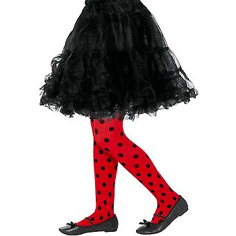 Ladybird Spot Tights Red & Black,Girls/Children's Tights Age 6-12