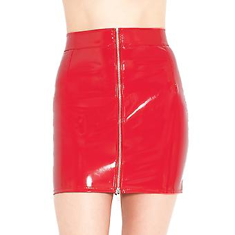 Honour Women's Sexy Mini Skirt in PVC Red Front Zip PVC Isabella Style