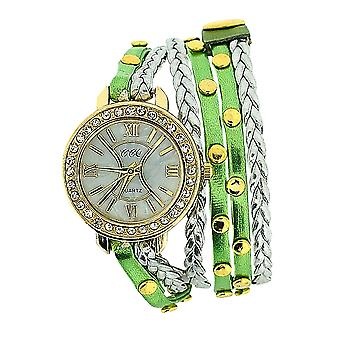 TOC Ladies Extra Long Green Metallic, Silver Plaited Stud Strap Watch SW1097