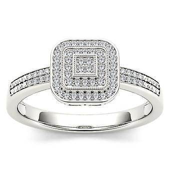 Igi certificato 10k oro bianco 0,15 ct diamante halo stile vintage in stile fidanzamento