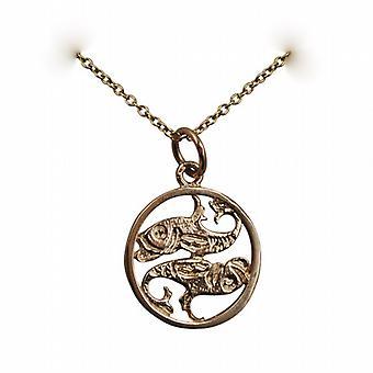 9ct золота 11 мм пронзили Кулон знак зодиака рыбы с кабелем цепи 16 дюймов подходит только для детей