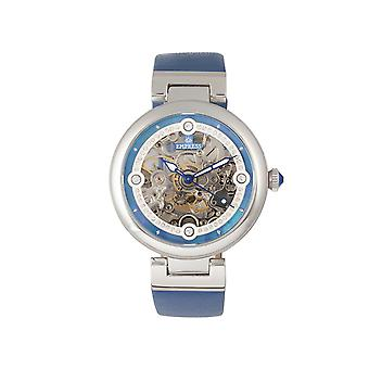 Empress Adelaide Automatic Skeleton Leather-Band Watch - Blue