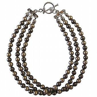 Bronze & chokolade brune perler 3 strandede brudepige brude armbånd