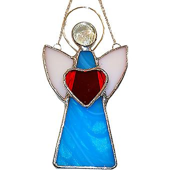 Simmerdim Design Stained Glass Angel Window Hanger Turquoise