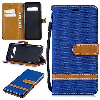 Samsung Galaxy S10 téléphone portable affaire sac protecteur housse Etui pochette porte-monnaie porte-cartes bleu