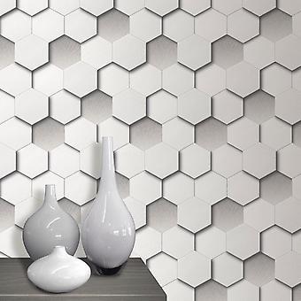 Tapeta 3D sześciokąt geometryczne skórzane, wyściełane wyglądają biały szary