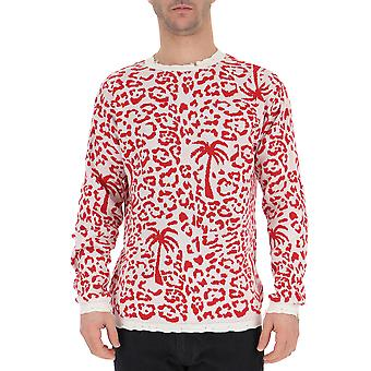 Laneus Mgu1405162 Men's White/red Cotton Sweatshirt